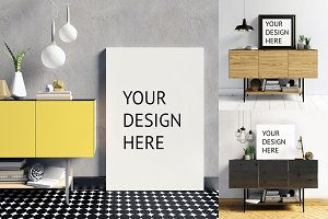 9 mock up poster frame in interior
