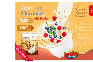 Instant oatmeal with raspberry