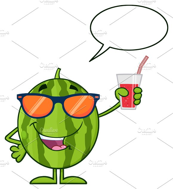 Watermelon Holding A Glass Of Juice
