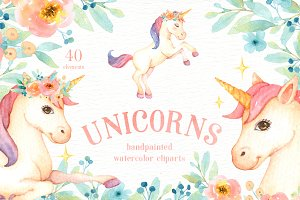Unicorns Watercolor Clip Art