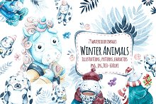 Watercolor Winter animals.