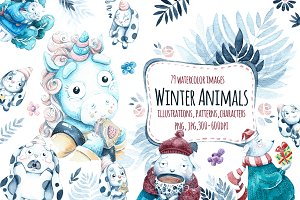 Watercolor Winter animals.