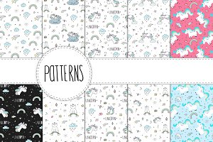 21 Patterns with cute unicorn