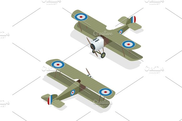 Isometric Vector Small Airplane Or Old Biplane