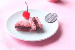 Chocolate & Cherry Macarons