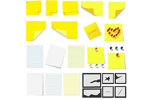 Office, sticky notes and turned pape