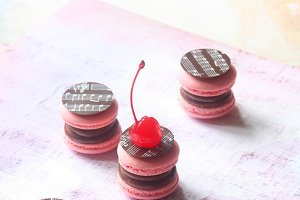 Chocolate & Cherry Macarons