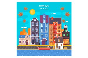 Autumn cityscape with deciduous leaves. Urban landscape with large skyline with private houses.Vector illustration.