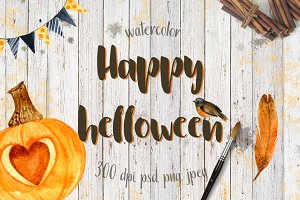 Happy helloween watercolor