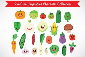 Cute Vegetable Food Characters