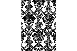 Vintage wallpaper pattern in black and white