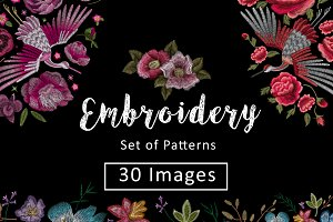 Set of Patterns. Flower embroidery