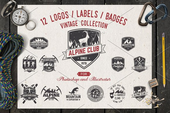 Alpine Club Vintage Collect-Graphicriver中文最全的素材分享平台