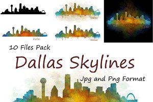 10x Files Pack Dallas City Skyline