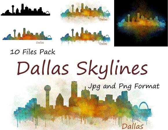 10x Files Pack Dallas City Skyline