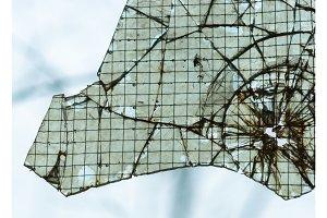 Broken window closeup