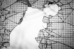 Cracked window with web