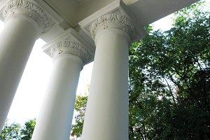 White columns of ancient building architecture photo