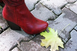 Red boot and maple leaf on the tile outdoor photo