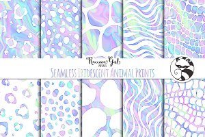 Seamless Iridescent Animal Prints