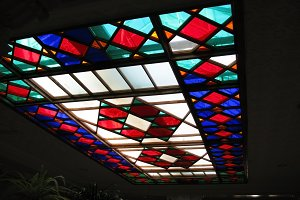 Colorful stained glass in the ceiling photo