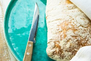 Traditional italian bread - ciabatta