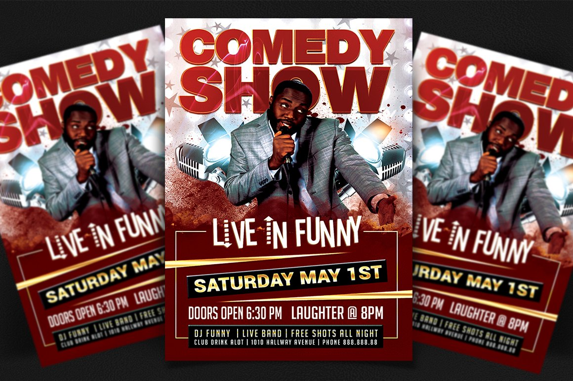 Stand Up Comedy Poster Template Flyer Templates Creative Market