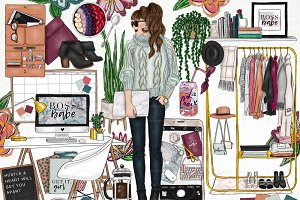 Girl Boss Fashion Clip Art