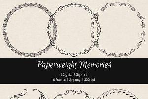 6 Round Swirly Frames - Clipart