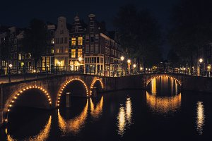 Amsterdam Canal Bridges at Night