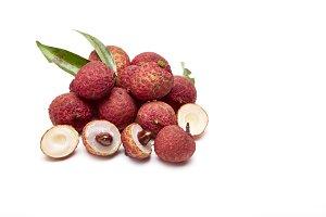 fresh fruit lychees on white background