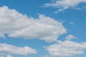 Blue Sky with Multiple White Clouds