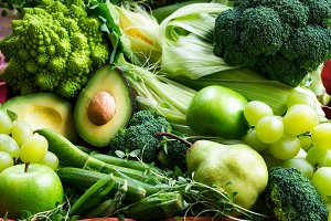 Fresh Raw Autumn Green Vegetables and Fruits