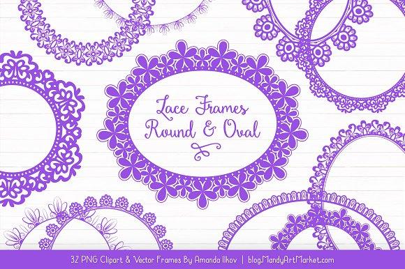 Purple Round Lace Frames