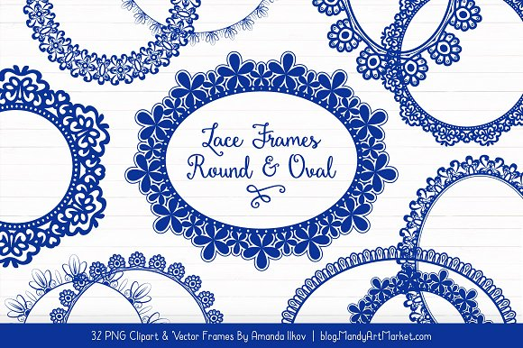Royal Blue Round Lace Frames