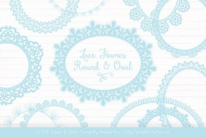 Soft Blue Round Lace Frames