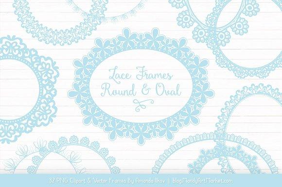 Soft Blue Round Lace Frames