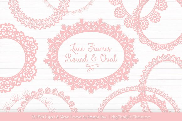 Soft Pink Round Lace Frames