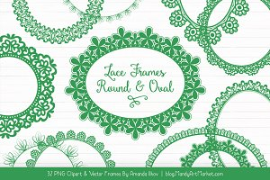 Green Round Lace Frames