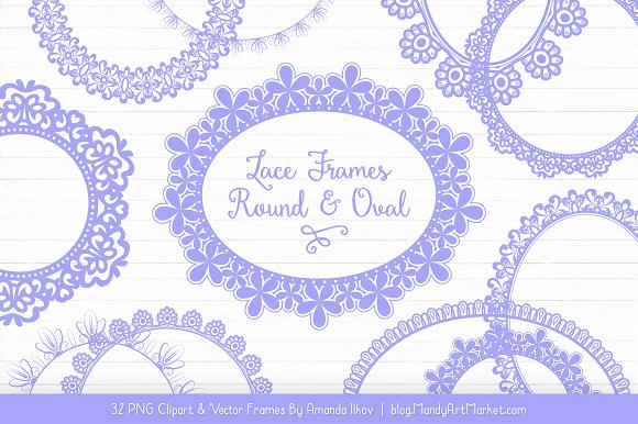Periwinkle Round Lace Frames
