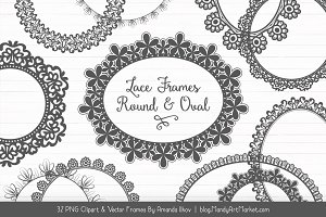Pewter Round Lace Frames