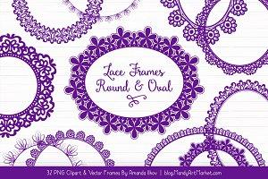 Violet Round Lace Frames