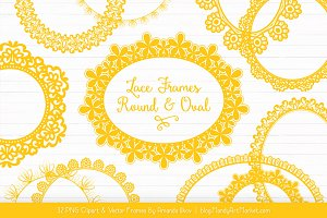 Yellow Round Lace Frames