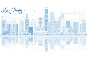 Outline Hong Kong Skyline
