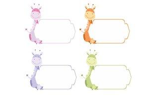 Cute frames or sticker with giraffe