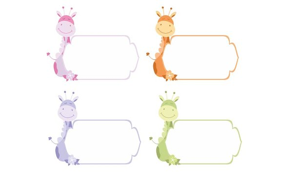Cute Frames Or Sticker With Giraffe