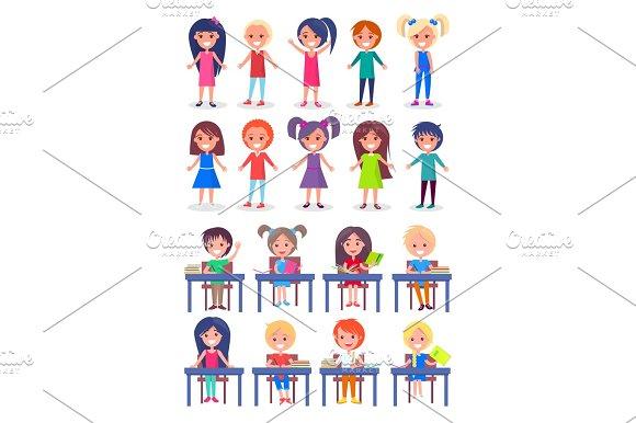 Set Of Schoolchildren Sitting At Desks Isolated