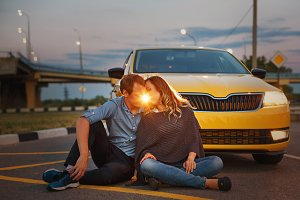 Couple in love. Road Trip