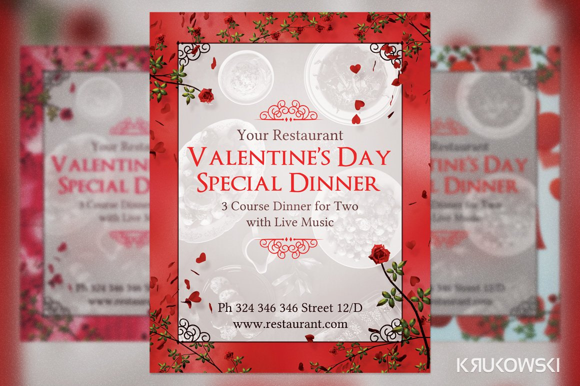 Valentine\'s Day Dinner for Two Flyer ~ Flyer Templates ~ Creative Market