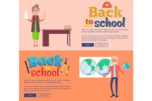 Back to School Banners with Teacher Vector Set